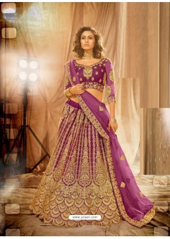 Purple Heavy Embroidered Designer Bridal Lehenga Choli