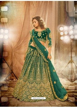 Dark Green Heavy Embroidered Designer Bridal Lehenga Choli