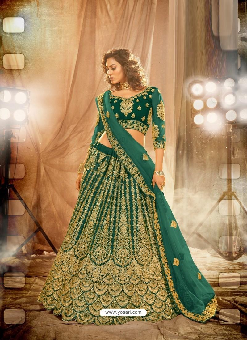 Dark Green Heavy Embroidered Designer Bridal Lehenga Choli