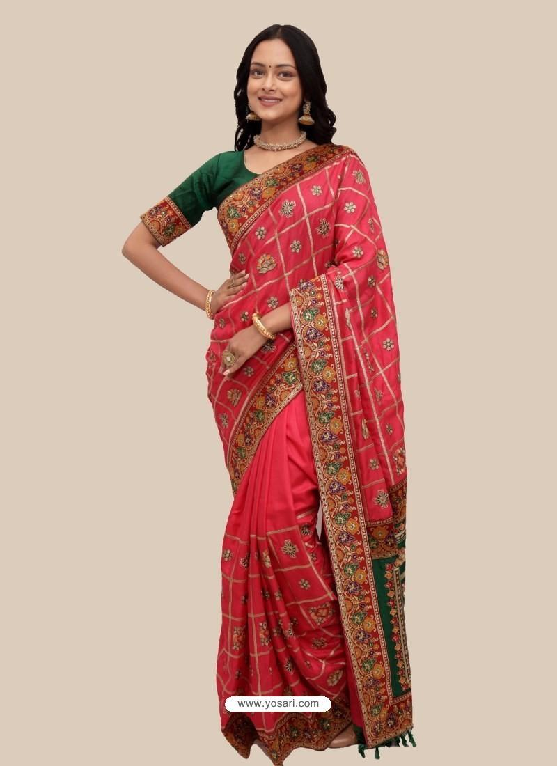Dark Peach Stylish Designer Wedding Wear Soft Silk Sari