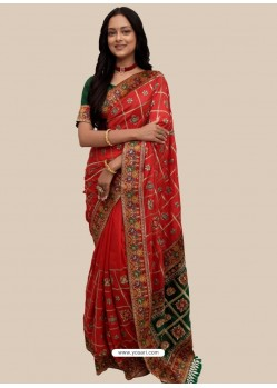 Red Stylish Designer Wedding Wear Soft Silk Sari