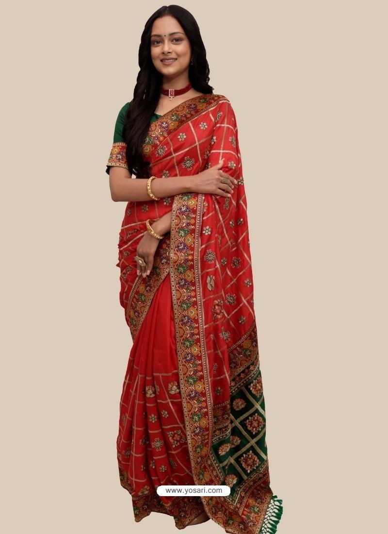 Red Stylish Designer Wedding Wear Soft Silk Sari