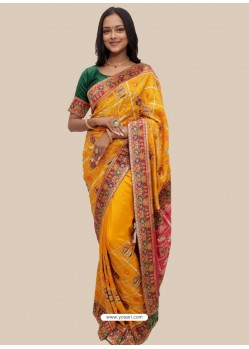 Yellow Stylish Designer Wedding Wear Soft Silk Sari