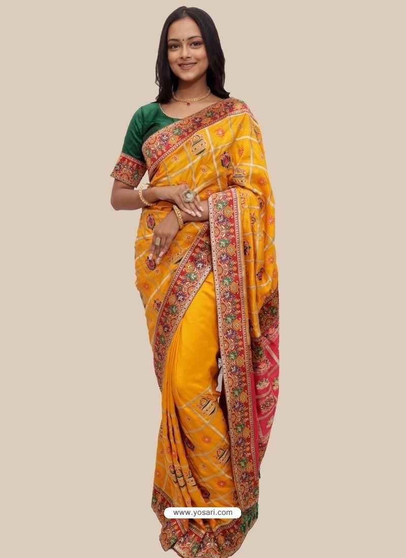Yellow Stylish Designer Wedding Wear Soft Silk Sari