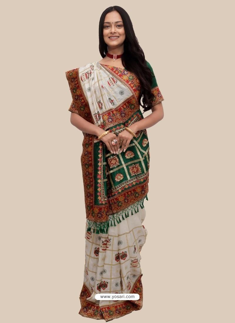 White Stylish Designer Wedding Wear Soft Silk Sari