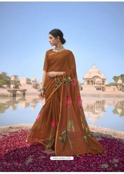 Rust Designer Casual Soft Cotton Linen Sari