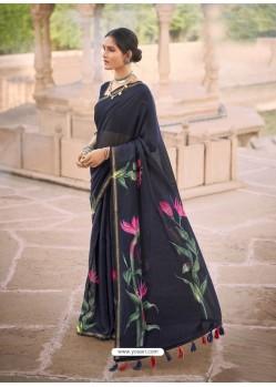 Navy Blue Designer Casual Soft Cotton Linen Sari