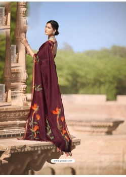 Maroon Designer Casual Soft Cotton Linen Sari