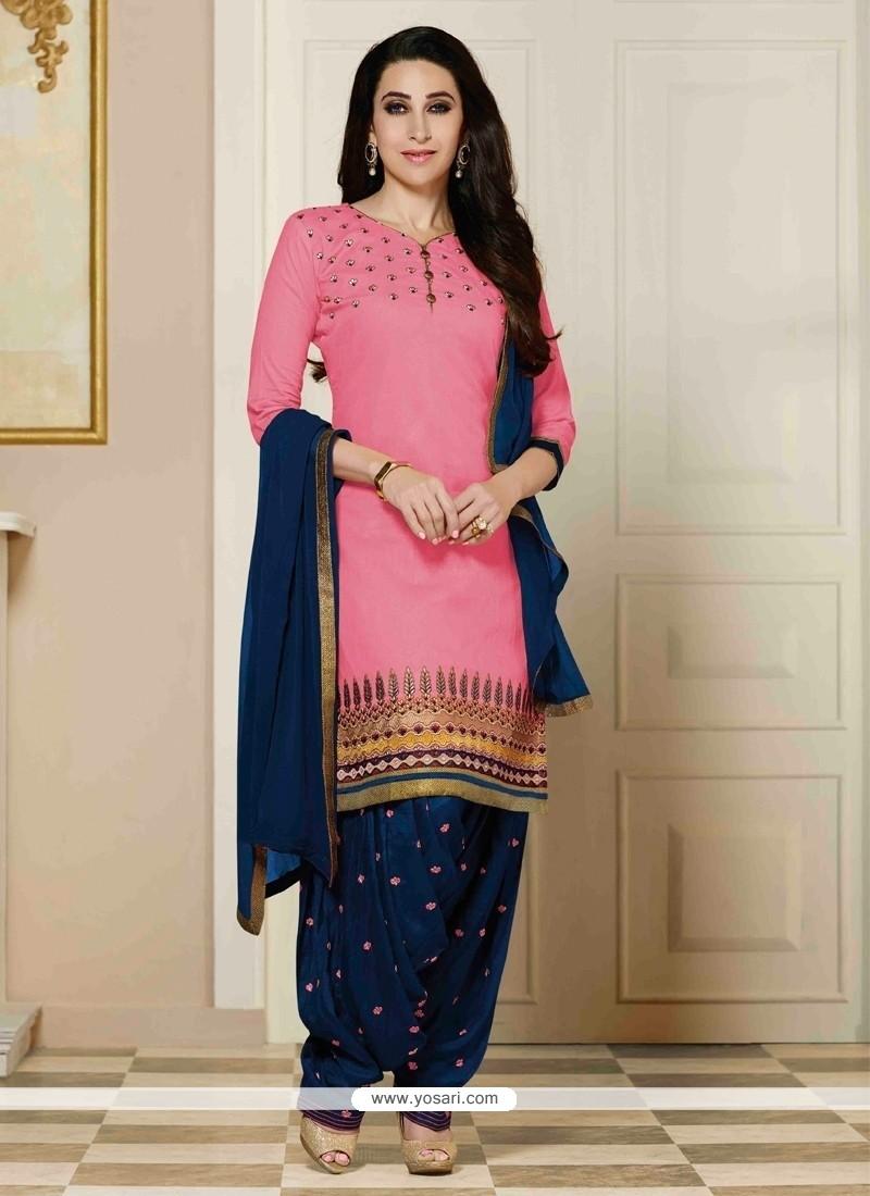 Karishma Kapoor Hot Pink Designer Patila Salwar Suit