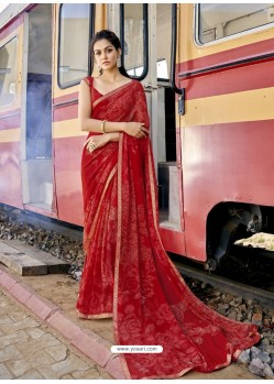 Red Designer Casual Wear Georgette Sari
