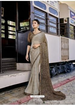 Grey Designer Casual Wear Georgette Sari
