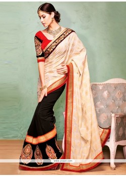 Modern Black And Cream Georgette And Velvet Saree