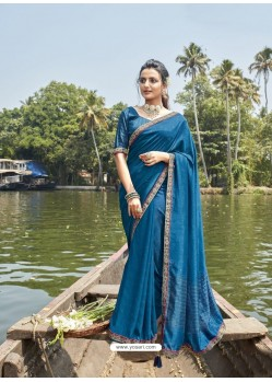 Blue Designer Party Wear Chanderi Silk Sari