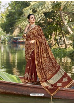 Brown Designer Party Wear Chanderi Silk Sari