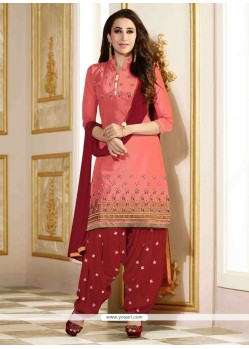 Karishma Kapoor Peach Cotton Designer Patila Salwar Suit