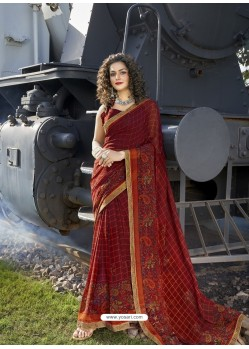 Maroon Designer Casual Wear Georgette Sari