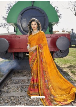 Mustard Designer Casual Wear Georgette Sari