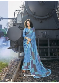 Blue Designer Casual Wear Georgette Sari