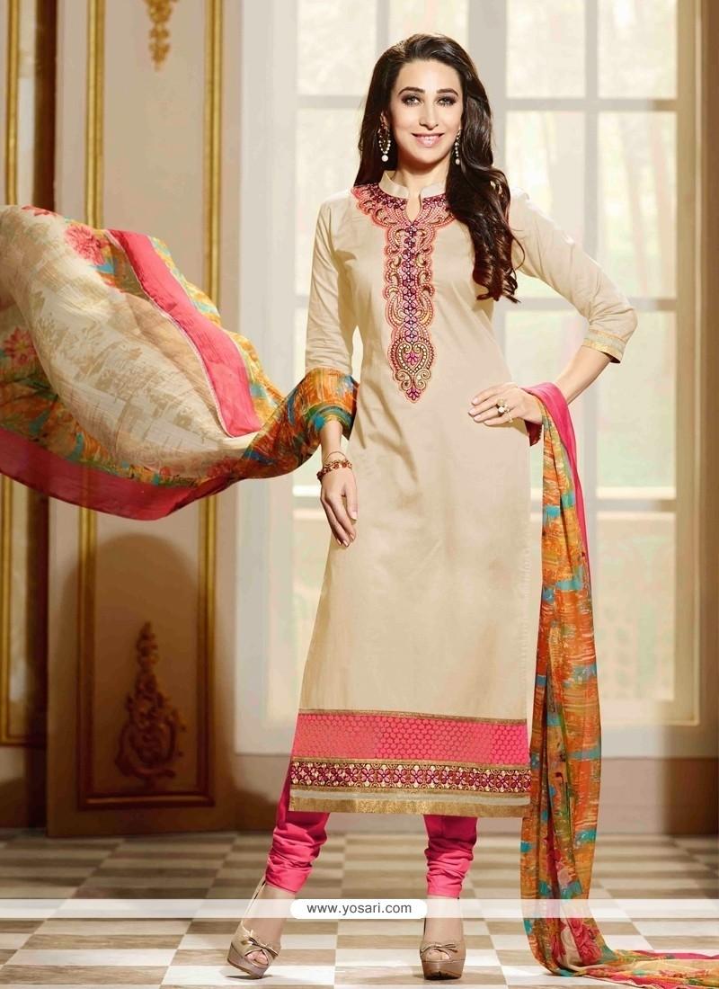 Karishma Kapoor Cotton Lace Work Beige Churidar Salwar Kameez