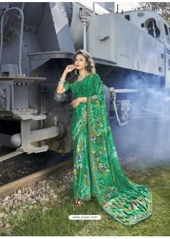 Jade Green Designer Casual Wear Georgette Sari