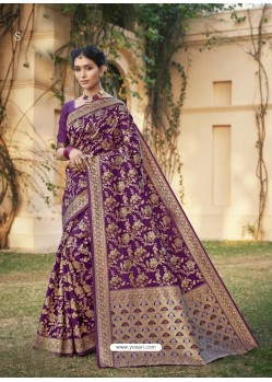 Purple Designer Classic Wear Cotton Jacquard Sari