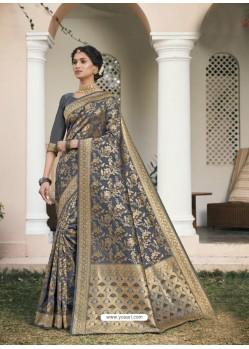 Grey Designer Classic Wear Cotton Jacquard Sari