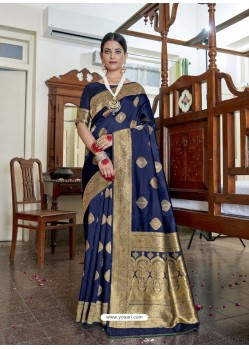 Navy Blue Designer Classic Wear Soft Art Silk Sari