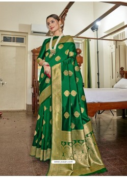 Forest Green Designer Classic Wear Soft Art Silk Sari