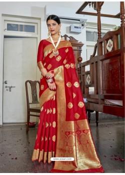 Red Designer Classic Wear Soft Art Silk Sari
