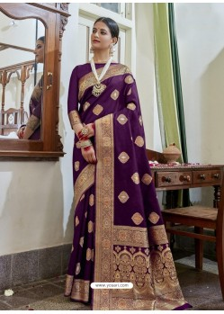 Purple Designer Classic Wear Soft Art Silk Sari
