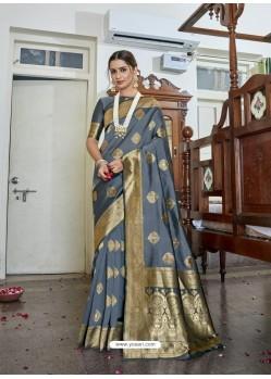 Grey Designer Classic Wear Soft Art Silk Sari