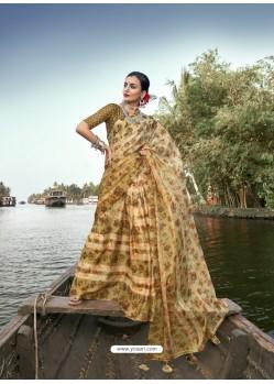 Cream Designer Casual Wear Chiffon Sari