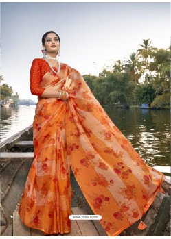 Orange Designer Casual Wear Chiffon Sari