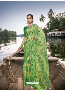 Green Designer Casual Wear Chiffon Sari