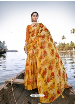 Yellow Designer Casual Wear Chiffon Sari