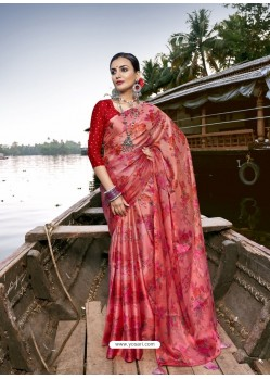 Red Designer Casual Wear Chiffon Sari