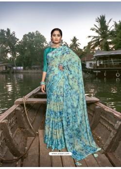 Sky Blue Designer Casual Wear Chiffon Sari