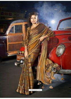 Multi Colour Designer Casual Wear Moss Chiffon Sari