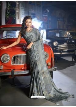 Grey Designer Casual Wear Moss Chiffon Sari