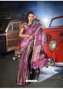 Magenta Designer Casual Wear Moss Chiffon Sari