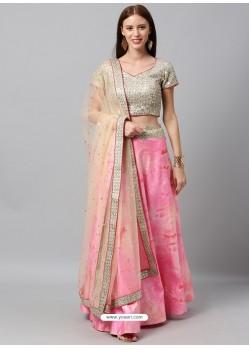 Light Pink Heavy Designer Party Wear Lehenga