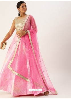 Pink Heavy Designer Party Wear Lehenga