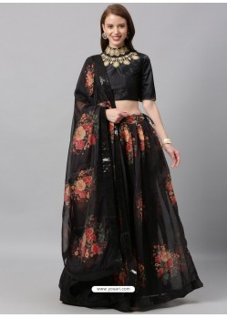 Black Heavy Designer Party Wear Lehenga