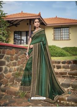 Mehendi Designer Traditional Party Wear Chanderi Silk Sari