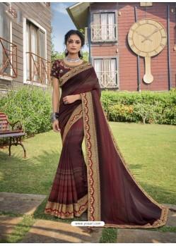 Maroon Designer Traditional Party Wear Chanderi Silk Sari