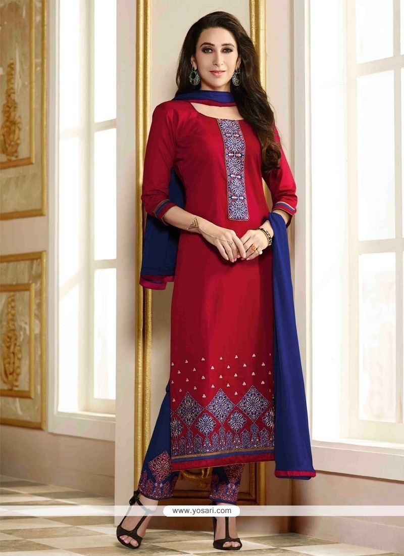 Karishma Kapoor Red Resham Work Designer Straight Salwar Kameez