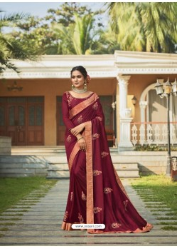 Maroon Designer Party Wear Vichitra Silk Sari
