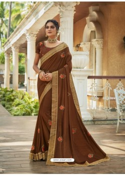 Brown Designer Party Wear Vichitra Silk Sari