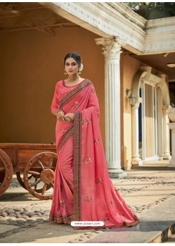 Peach Designer Party Wear Vichitra Silk Sari