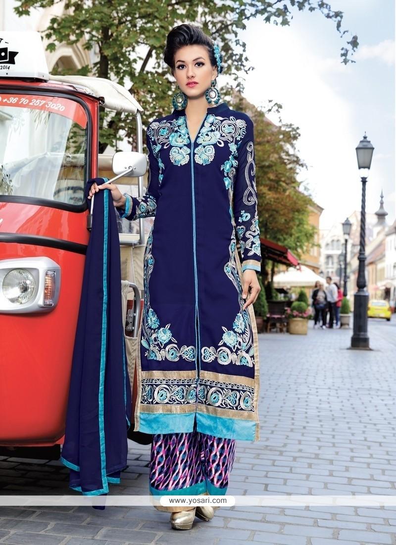 Exotic Resham Work Georgette Palazzo Designer Salwar Kameez